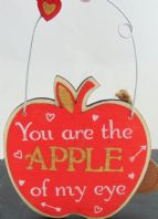 GIFT FOR LOVE 'YOU ARE THE APPLE OF MY EYE' WOODEN APPLE SHAPED HANGING SIGN..